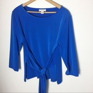Appleseed's Blue Stretch PL Tie Front Pullover Top